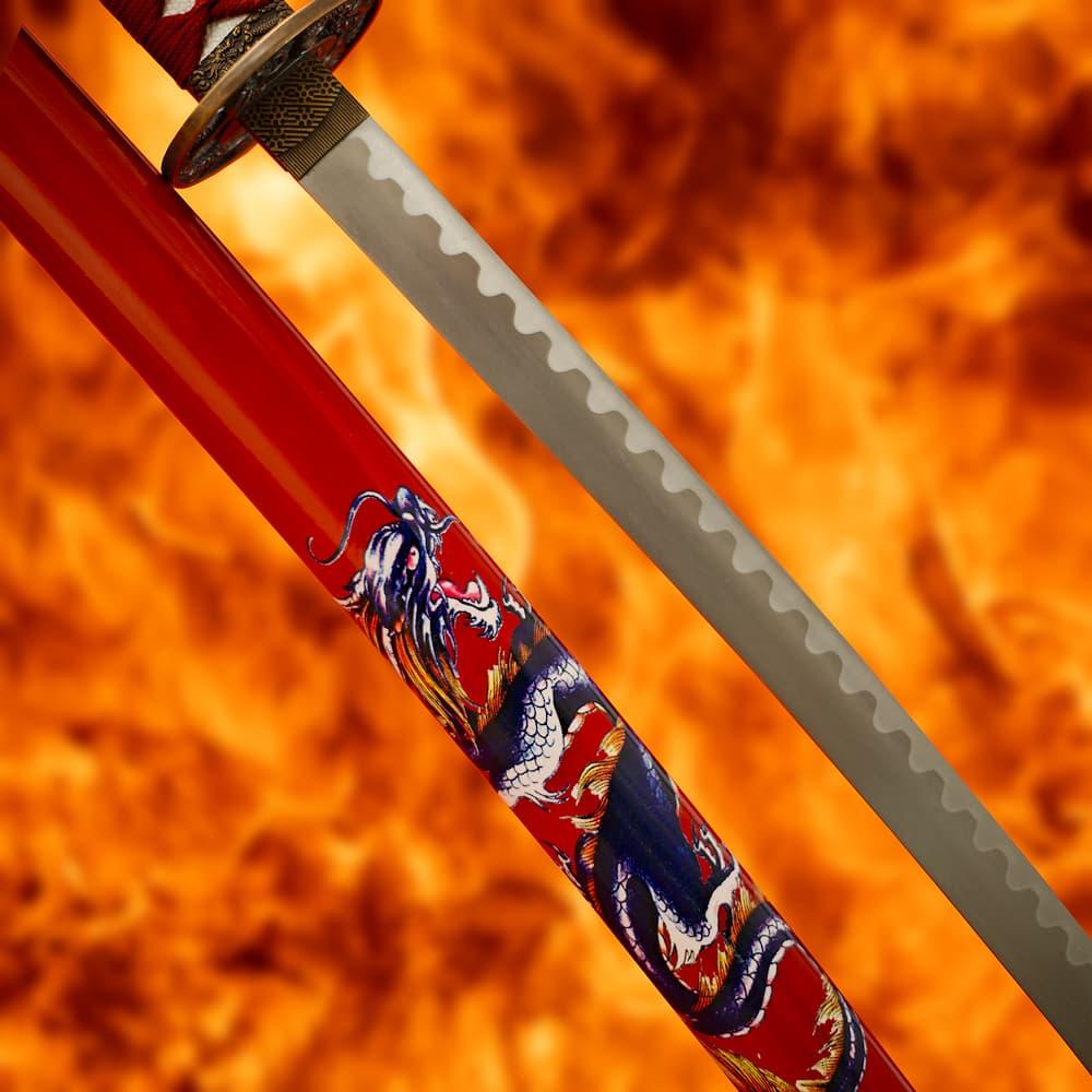 Katana de décoration « Dragon de feu »