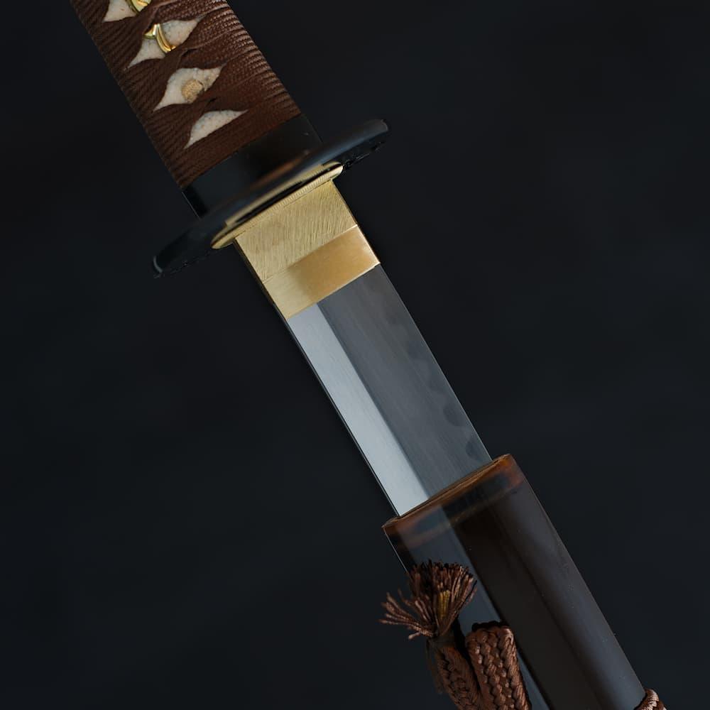 Katana Maru 1095, véritable Hamon, aiguisage à la main « Chairo » 茶色 (marron, couleur du thé)